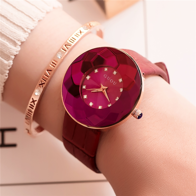 GUOU relogio feminino Unique Women Watch 2018 Luxury Brand Rhinestone Quartz Watches Large Dial Women Clock with Gift Box Black classic simple star women watch men top famous luxury brand quartz watch leather student watches for loves relogio feminino
