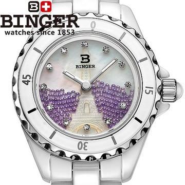 Japan Quartz Binger Ceramics Watches Woman Elegant Purple Bead Shell Porcelain wristwatches Carving Eiffel Tower watch