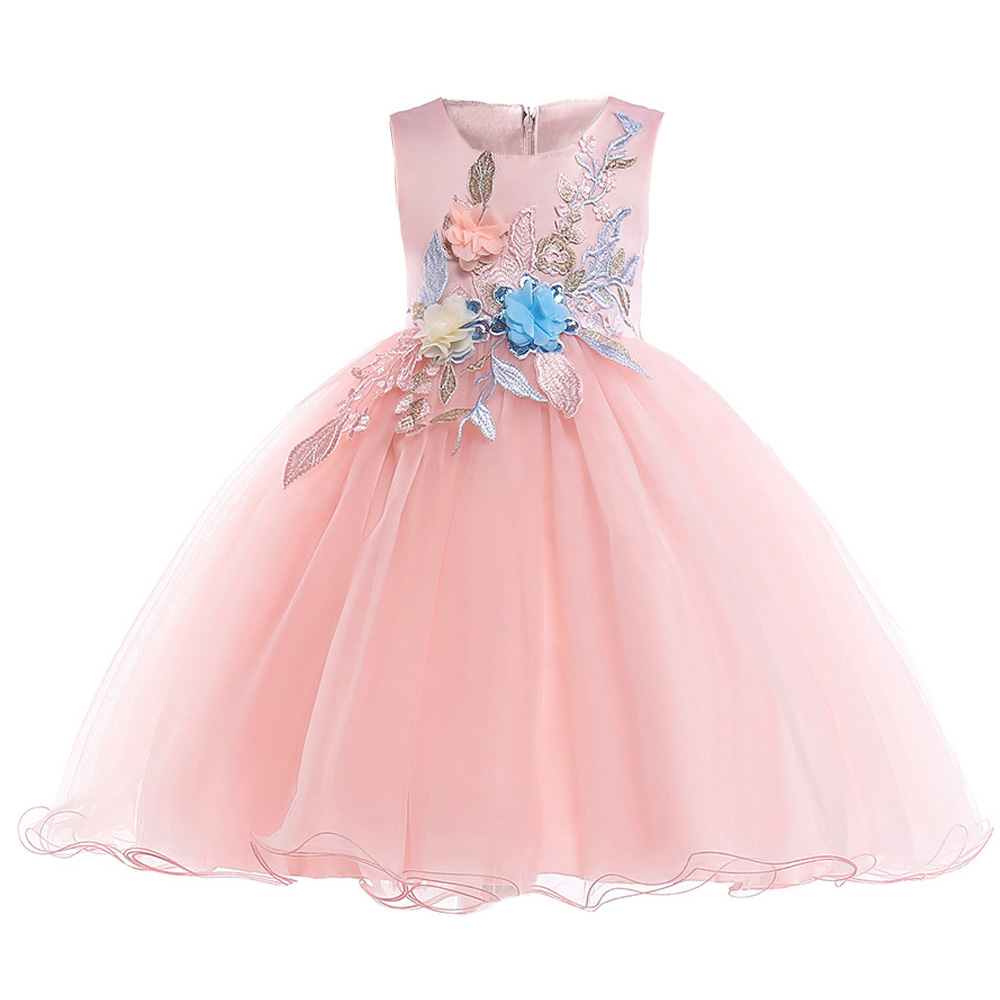 Retail Fancy Appliques Princess Formal Summer Party   Dress   With Sashes Embroidery Tassel   Girls   Wedding   Dress   L5029