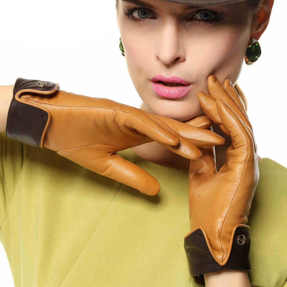 Ladies real leather gloves - Elegance Women Genuine Leather Gloves 2017 Rushed Contrast Color Sheepskin Glove Fashion Wrist Adult Winter Driving