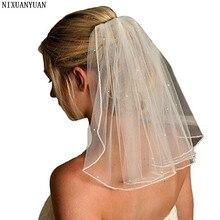 NIXUANYUAN короткая 1 слойная свадебная вуаль, мягкая фатиновая Фата невесты с гребнем, свадебные аксессуары с кристаллами, вуаль de mariee