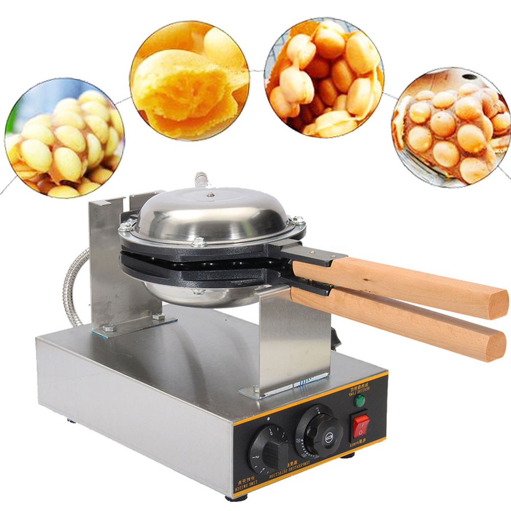 Small Commercial 110V 220V Electric Nonstick Rotating Eggettes Egg waffle Maker Machine Puff Bubble Waffle Iron directly factory price commercial electric double head egg waffle maker for round waffle and rectangle waffle