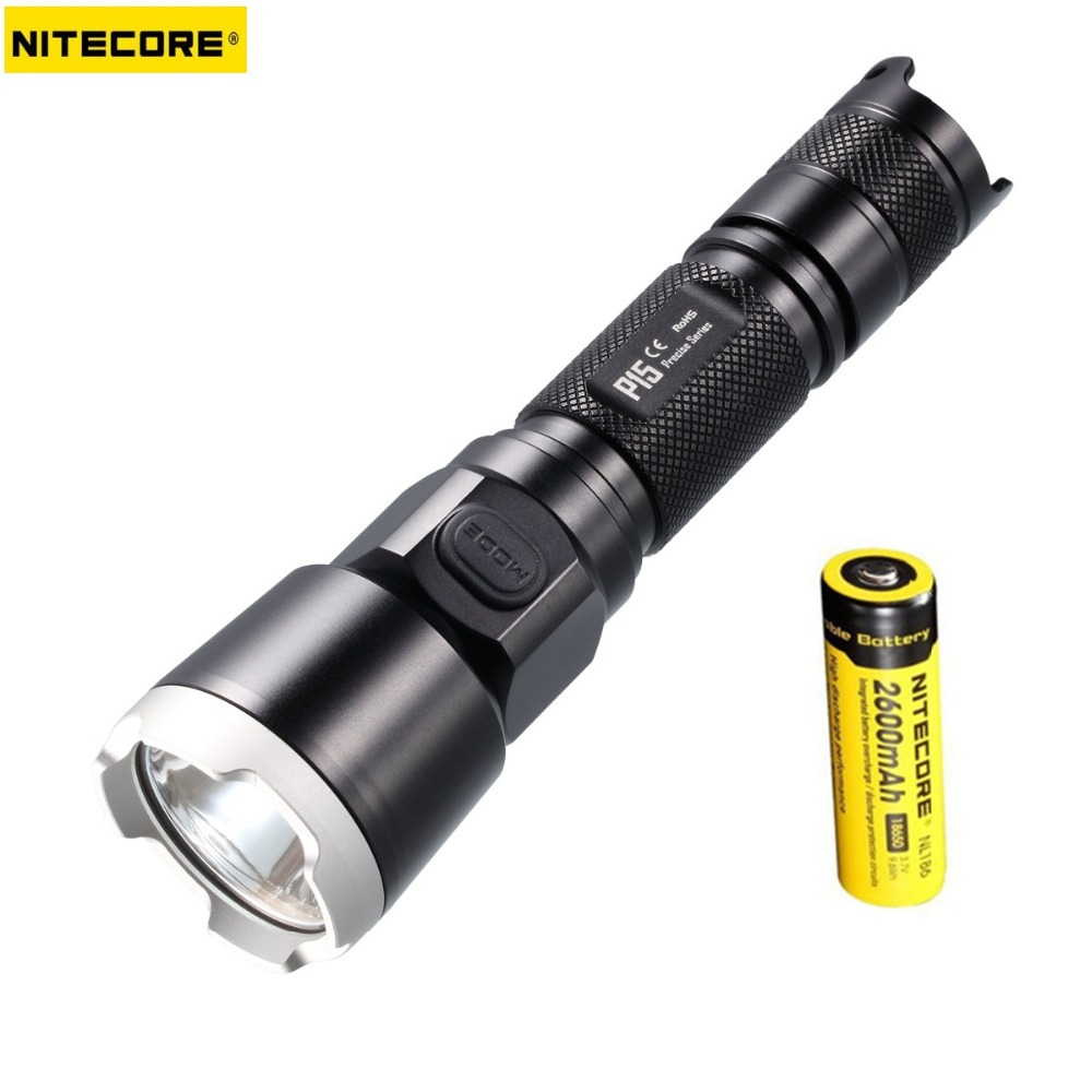 1 Set Nitecore P15 CREE XP-G2 (R5) 430 lumens Tactical Flashlight +Free 1* Nitecore 2600Mah 18650 Battery for Self Defence nitecore p15 430 lumens cree xp g2 tactical led flashlight military outdoor hunt search rescue tactical torch free shipping