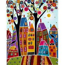 Full Square/Round Drill 5D DIY Diamond Painting Abstract tree houses Embroidery Cross Stitch  Home Decor