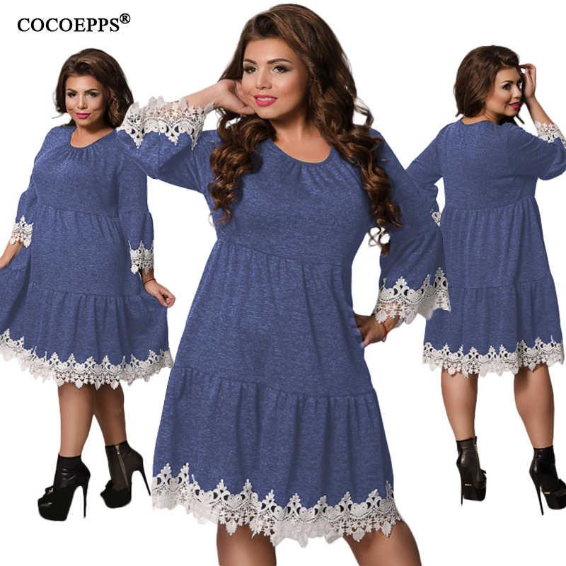 2019 5XL 6XL зимнее женское лоскутное кружевное платье Плюс Размер Женская одежда большого размера осеннее женское платье большой размер; элегантные платья