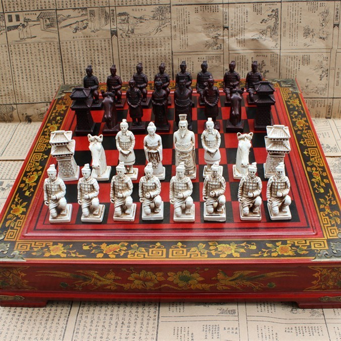 New Wood Chess Chinese Retro Terracotta Warriors Do Old Carving Resin Chessman Oversized Piece Premium Yernea