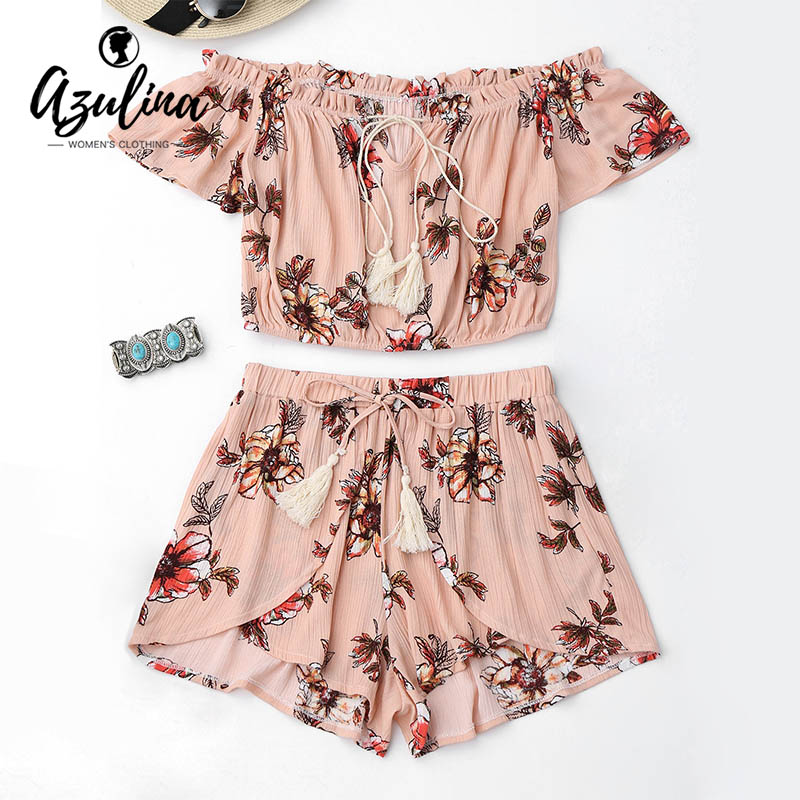AZULINA Summer 2 Two Piece Set Women Sexy Off the Shoulder Tops and Shorts Set Floral Print Ruffles Top Tulip Shorts Suits