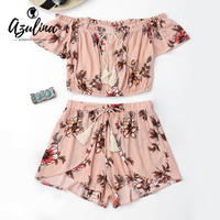 AZULINA 2018 Summer 2 Two Piece Set Women Sexy Off the Shoulder Tops and Shorts Set Floral Print Ruffles Top Tulip Shorts Suits