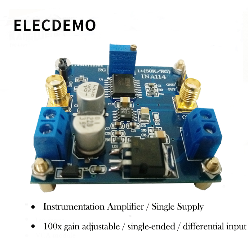 INA114 Instrumentation Amplifier 1000x Gain Adjustable Single Supply Single Ended/Differential Input-in Demo Board Accessories from Computer & Office