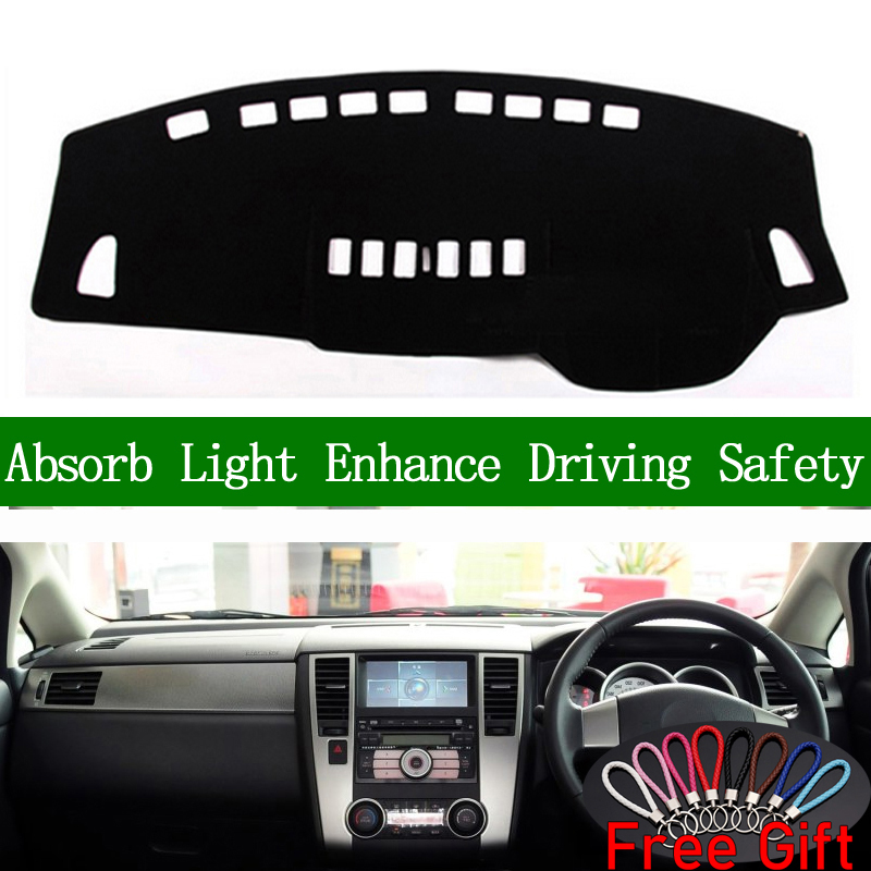 For Nissan Tiida C11 2005 2006 2007 2008 2009 2010 Right Hand Drive Dashboard Cover Car Stickers Dash Mat Interior Accessories