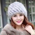 Mulheres Chapéus de Inverno Com Pele Real Natural Feminino Quente e veludo Cap de Pele De Vison Real Malha Caps Chapéu de Abacaxi Em idosos chapéu