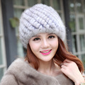 Women Winter Hats With Natural Real Fur Female Warm and velvet Cap Mink Fur Real Knitted Caps Pineapple Hat In the elderly hat