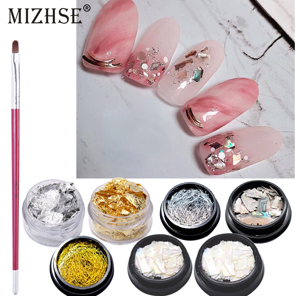 MIZHSE Manicure Nail Art Kit Nail Glitter Powder Decoration Acrylic Pen Brus UV Gel Tips Set Blooming DIY Gel Nail Polish Decor