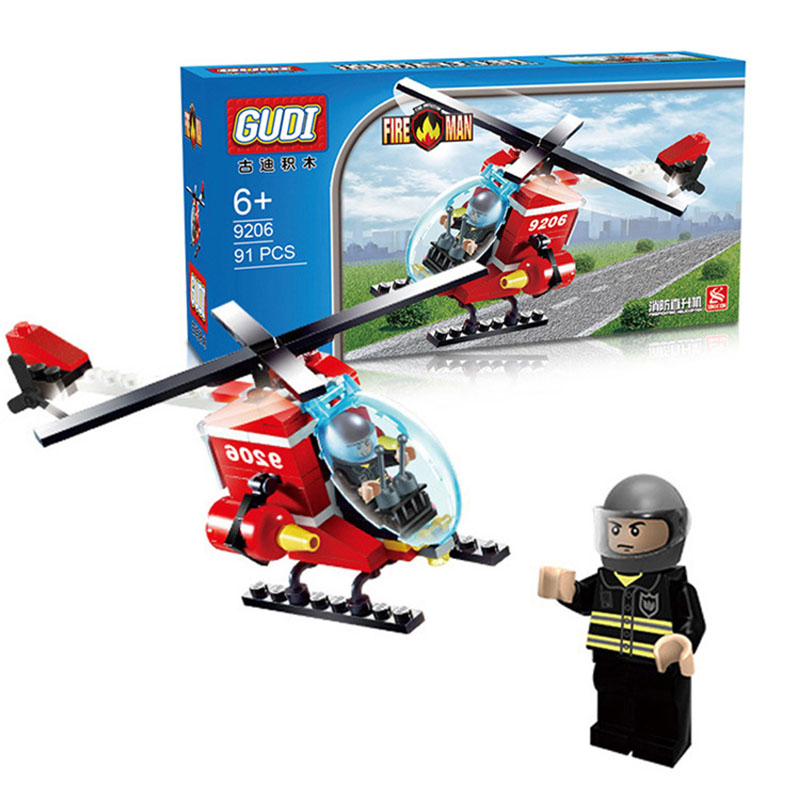 New Fire Helicopter Station Truck Learning School Educational Building Blocks City Fireman Brinquedo Kids Bricks