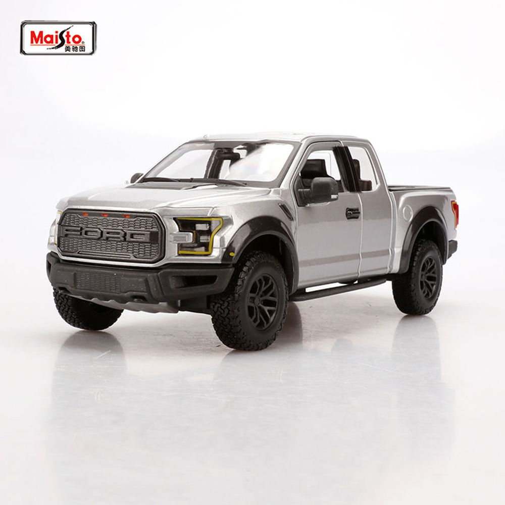 Kids Toys Pickup trucks toy Car models Maisto 1:24 Alloy Diecast Car 1/24 Silver-Gray 2017 F-150 SVT Raptor Truck Model thebalm увлажняющая тональная основа balm shelter medium