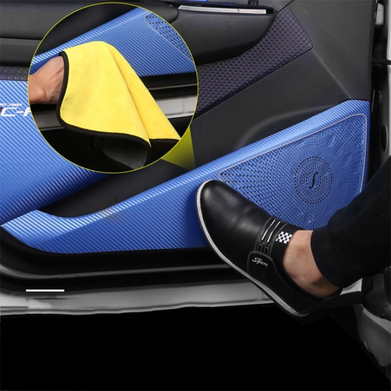 Pièces de Modification de protection de porte Anti-coup de pied en Fiber de carbone dédiées aux accessoires intérieurs Toyota C-HR CHR