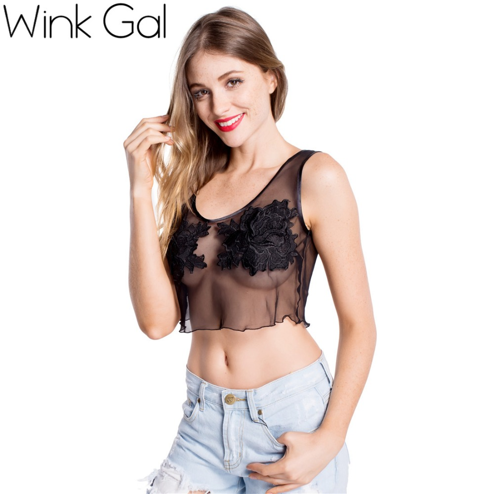 Wink Gal Fashion 2015 Comfortable Ultra Thin Vest Lace Push Sexy Tees <font><b>White</b></font> <font><b>Crop</b></font> <font><b>Tank</b></font> Sexy Tops 1661