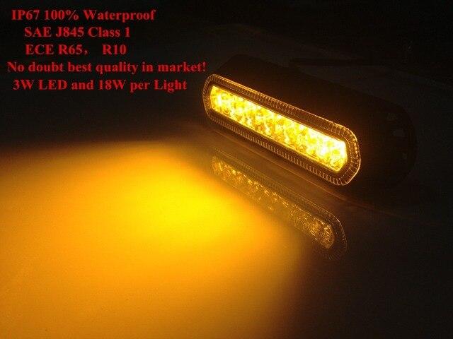 2 stücke Beste qualität IP67 SAE J845 Klasse 1 ECE R10 R65 cerficate auto lkw flash-warnung 18 Watt dünne 6 LED strobe grilllicht kopf