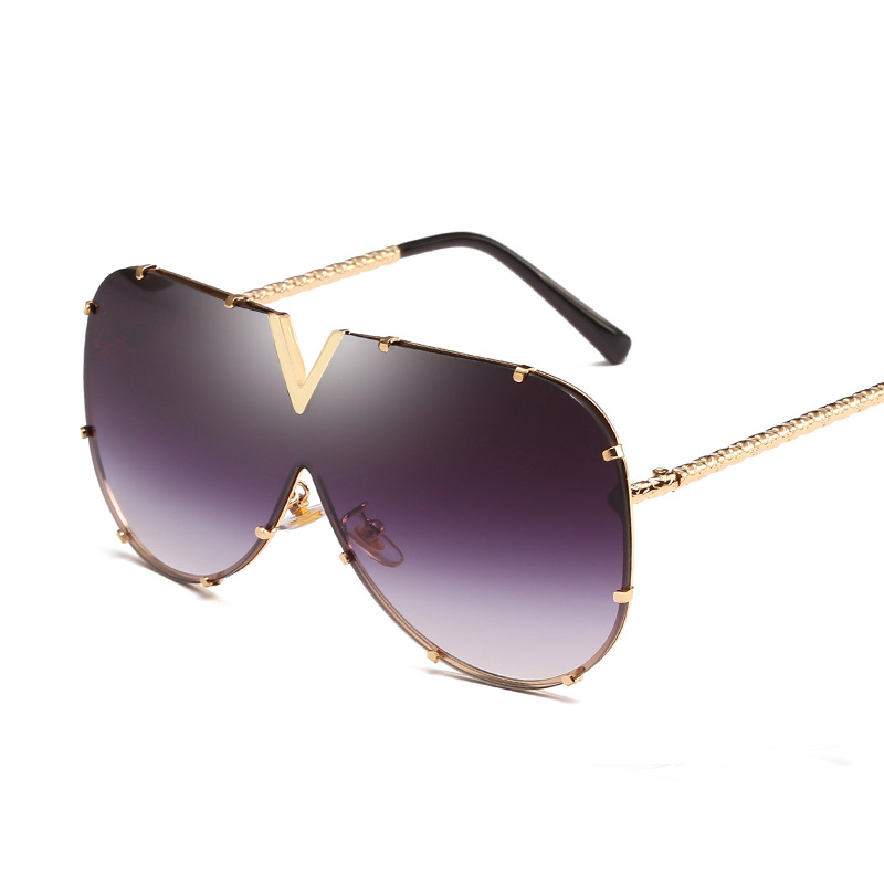 white Oversized women man sunglasses big frame gold square onepiece sun glass female punk Eyewear Top Quality Fashion colorful