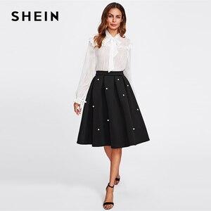 Image 5 - SHEIN Black Vintage Pearl Embellished Boxed Pleated Circle Knee Length Mid Waist Skirt Women Autumn Elegant Workwear Skirt