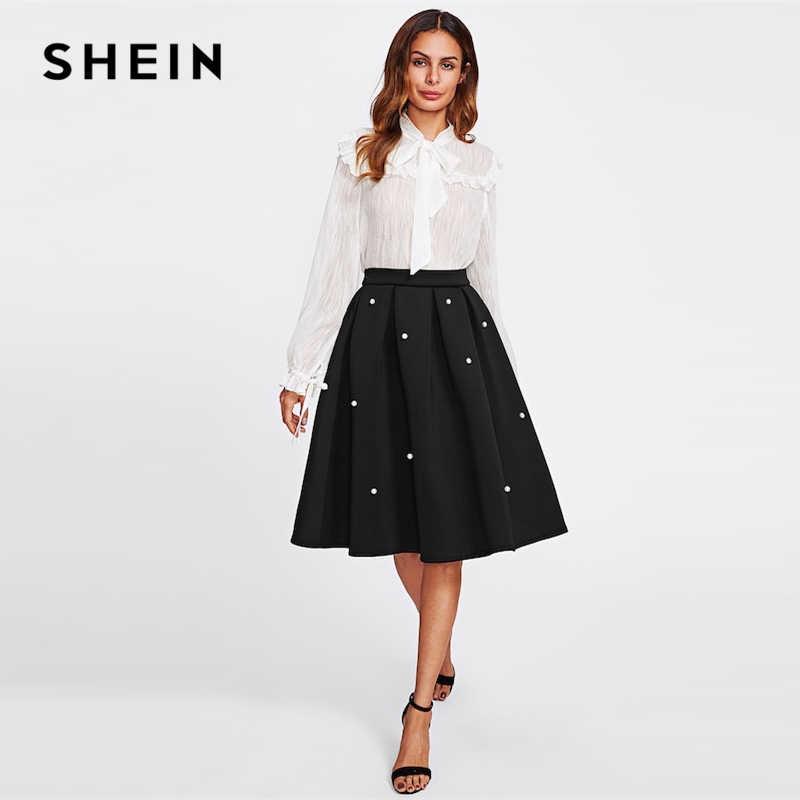 8c23bae93f ... SHEIN Black Vintage Pearl Embellished Boxed Pleated Circle Knee Length  Mid Waist Skirt Women Autumn Elegant