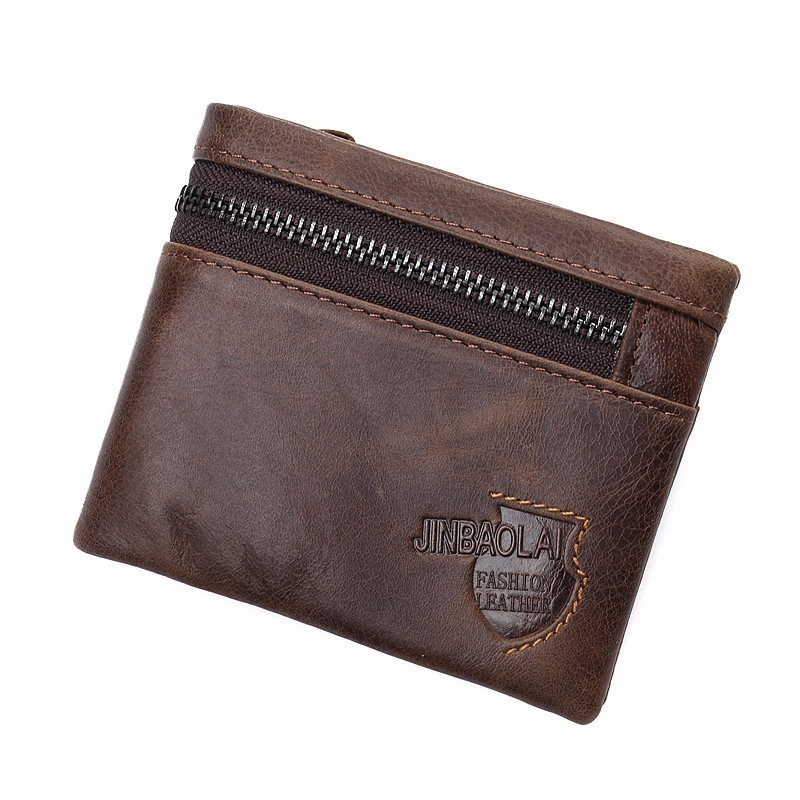 Brand Genuine Leather Wallet Men Zipper Design Bifold Short Male Clutch With Card Holder Mini Coin Purse Crazy Horse PORTFOLIO ...