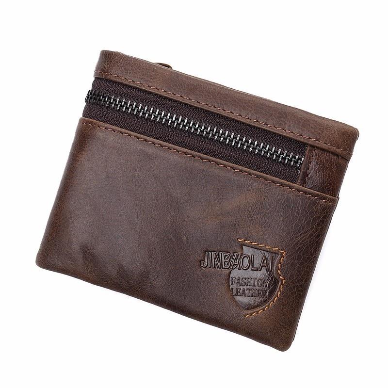 Brand Genuine Leather Wallet Men Zipper Design Bifold Short Male Clutch With Card Holder Mini Coin Purse Crazy Horse PORTFOLIO ...