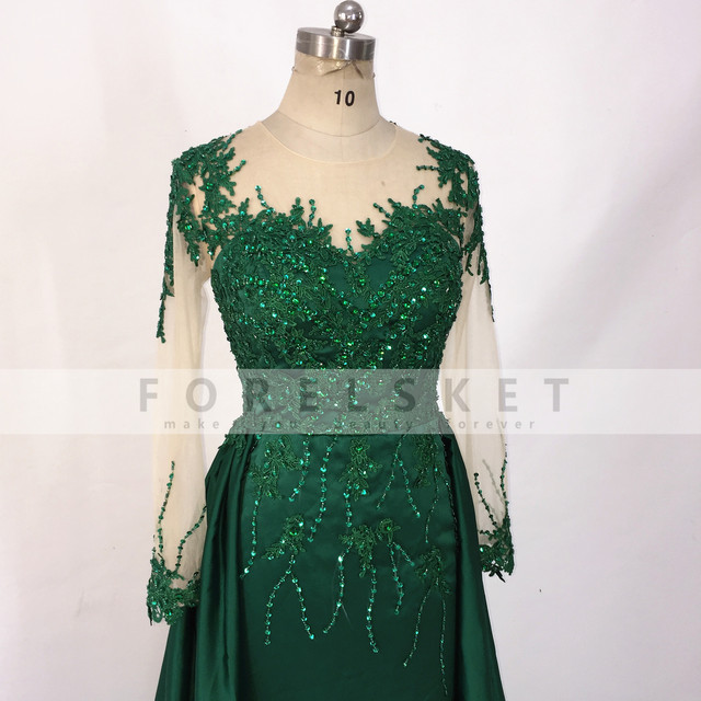 Long Sleeves Satin Mermaid Prom Dresses Green 2020 Engagement Celebration Saudi Arabia Beaded Lace Formal Evening party Gowns 6