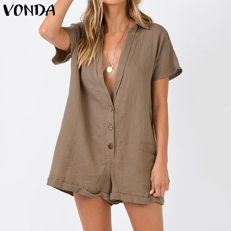 VONDA Rompers Women Jumpsuits Casual Short Pants 2020 Summer Vintage Overalls Sexy V Neck Short Sleeve Playsuits Plus Size S-5XL
