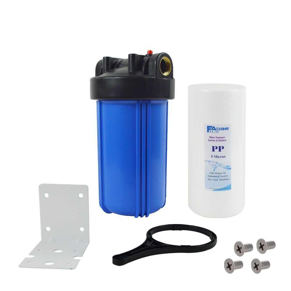 Système de Filtration d'eau pour toute la maison en 1 étage avec filtre à sédiments de 10 pouces, 5 microns, support de montage, vis et clé, entrées 1