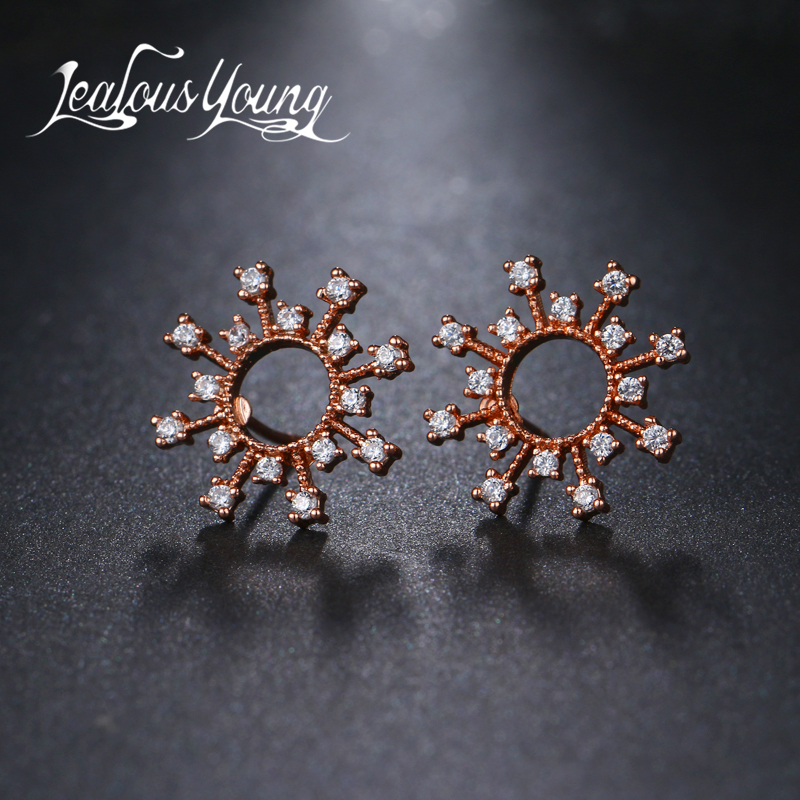 JY Elegant Fashiom Women Rose Gold Color Round CZ Stud Earrings Flower Cubic Zirconia Crystal Studs Ear Indian Jewelry AE464