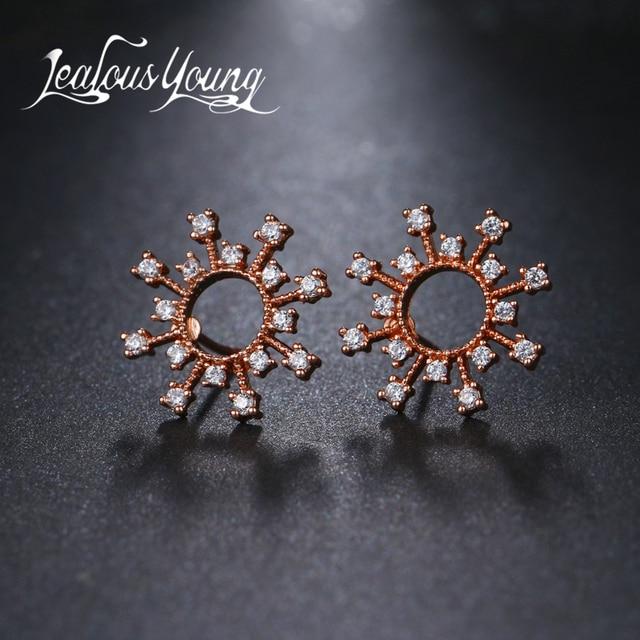 Jy Elegant Fashiom Women Rose Gold Color Round Cz Stud Earrings Flower Cubic Zirconia Crystal Studs
