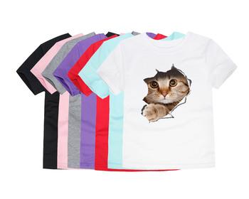 Letnie koszulki z krótkim rękawem dla dzieci bawełniane koszulki z krótkim rękawem dla dzieci 3D Cat koszulki z krótkim rękawem dla zwierząt koszulki z krótkim rękawem dla chłopców koszulki z jednorożcem dla 1-14 lat tanie i dobre opinie Little Bitty COTTON Aktywny REGULAR O-neck tops Tees Pasuje prawda na wymiar weź swój normalny rozmiar Unisex TTTX