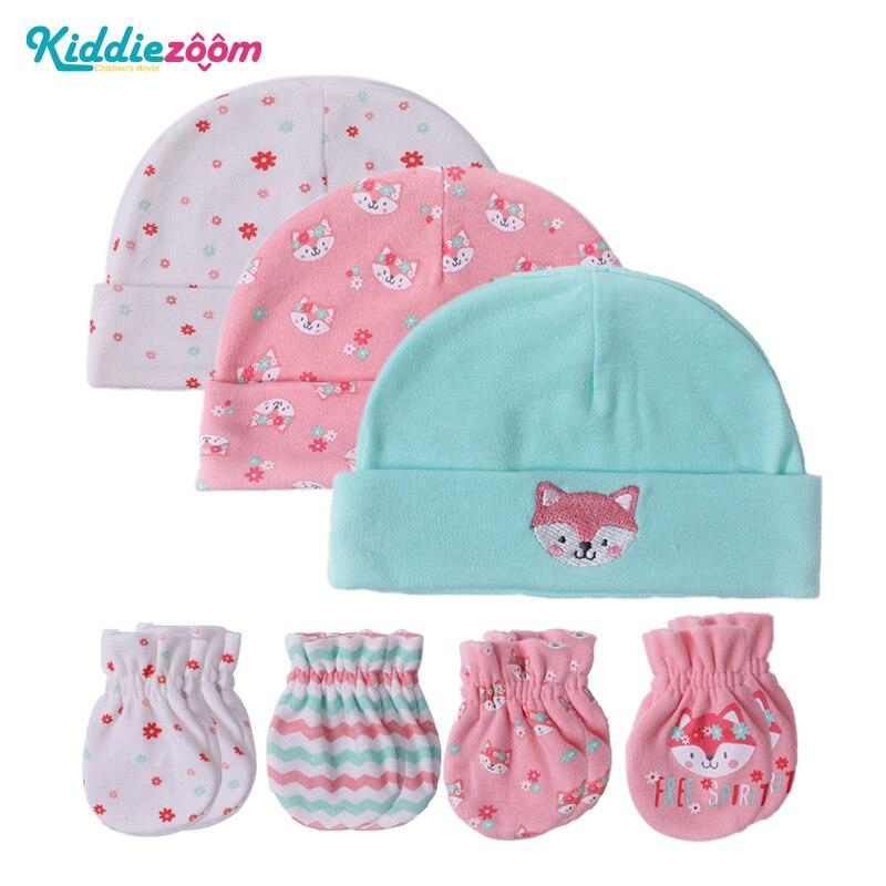 New Baby Hat Mittens Newborn 100 Cotton Baby Cap Infant 0
