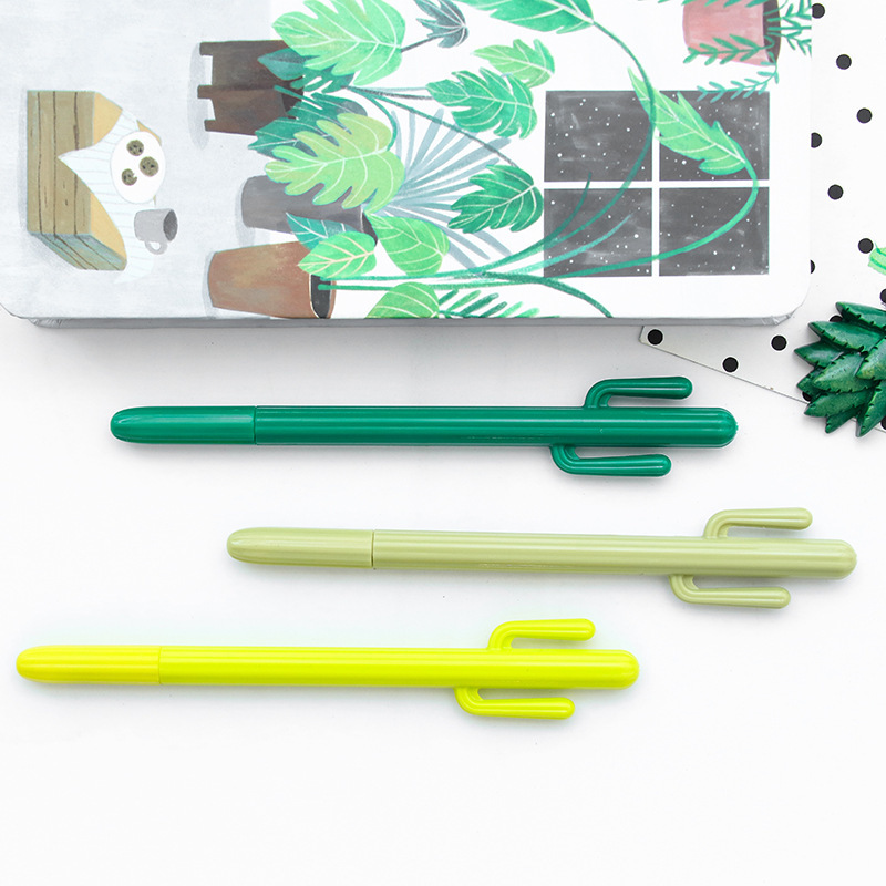 48 pcs/Lot Green plant Cactus roller ball pen Black color 0.5mm ballpoint Stationery Office accessories school supplies