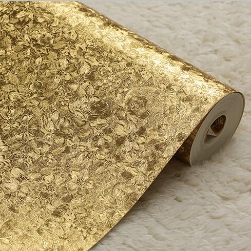 Modern luxury solid gold flower wallpaper 3d golden floral for Wallpaper pvc 3d