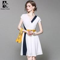 Primavera verano runway diseñador mujer vestido negro blanco patchwork cinturón amarillo vestido de v-cuello de la manera de trabajo de oficina vestido de algodón de seda
