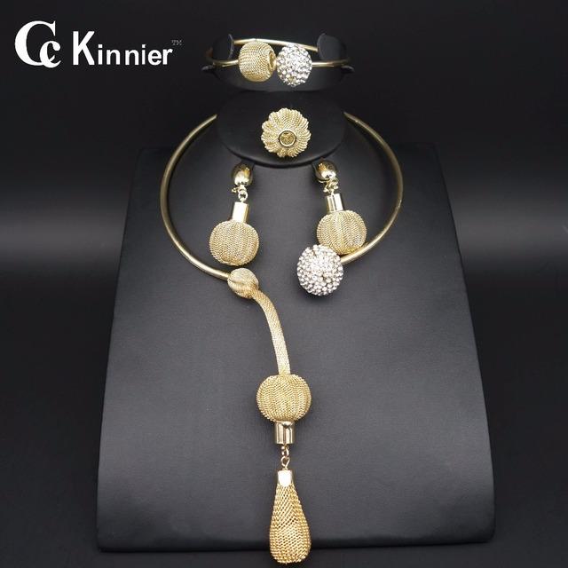 11.11 joyería de Moda CALIENTE fija Dubai chapado en oro de joyería del grano de la joyería de la boda Africana de Nigeria beads africanos sistemas de la joyería