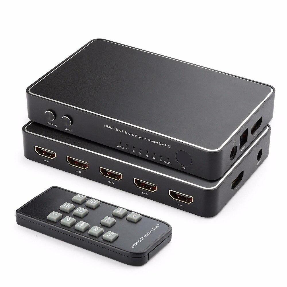 6 Port HDMI Commutateur, 4 K x 2 K 6x1 HDMI Commutateur Sélecteur Hub avec Optique Spdif Toslink + 3.5mm Stéréo Audio Sortie + ARC Fonction