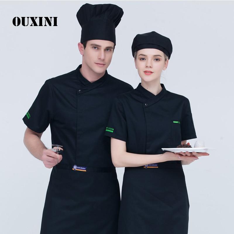 Cooking Uniform Hotel Workwear For Men Food Chef Kitchen Jacket Black Shirt Short Sleeve Restaurant Uniform Women's Cook Jacket