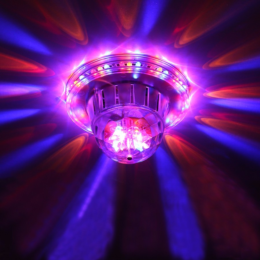 Tanbaby LED Stage Light Mini Crystal Rotating Ball Auto Sound Activated Multicolor Stage Lamp For KTV Xmas Party Wedding Etc.