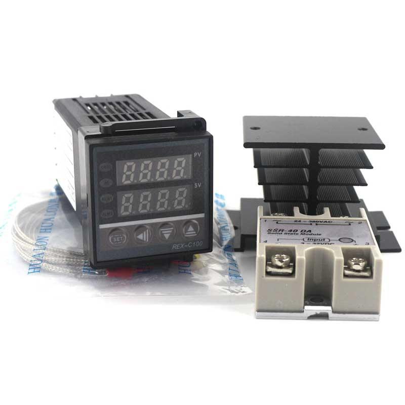 Dual Digital PID Temperature Controller Kit REX-C100 with SSR-40DA + Heat Sink + 2m Quality K Probe  цены