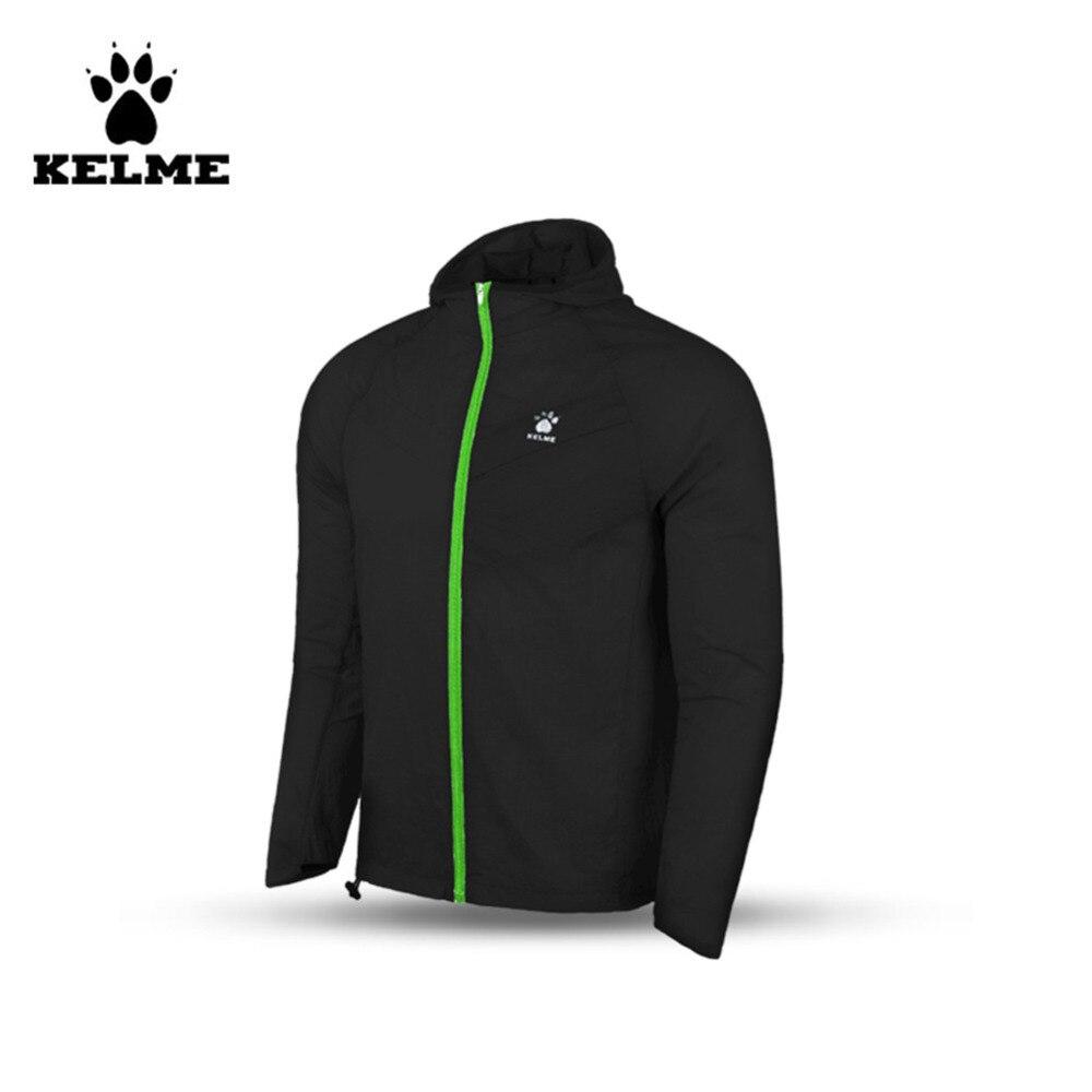 Kelme Men Hooded Training Woven Wind Raincoats Jacket K15F631 Black kelme kelme ke010auhvq05