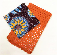 100% cotton wax print fabric with dry lace set orange swiss lace with ankara african wax print for women dress 3+2.5yards