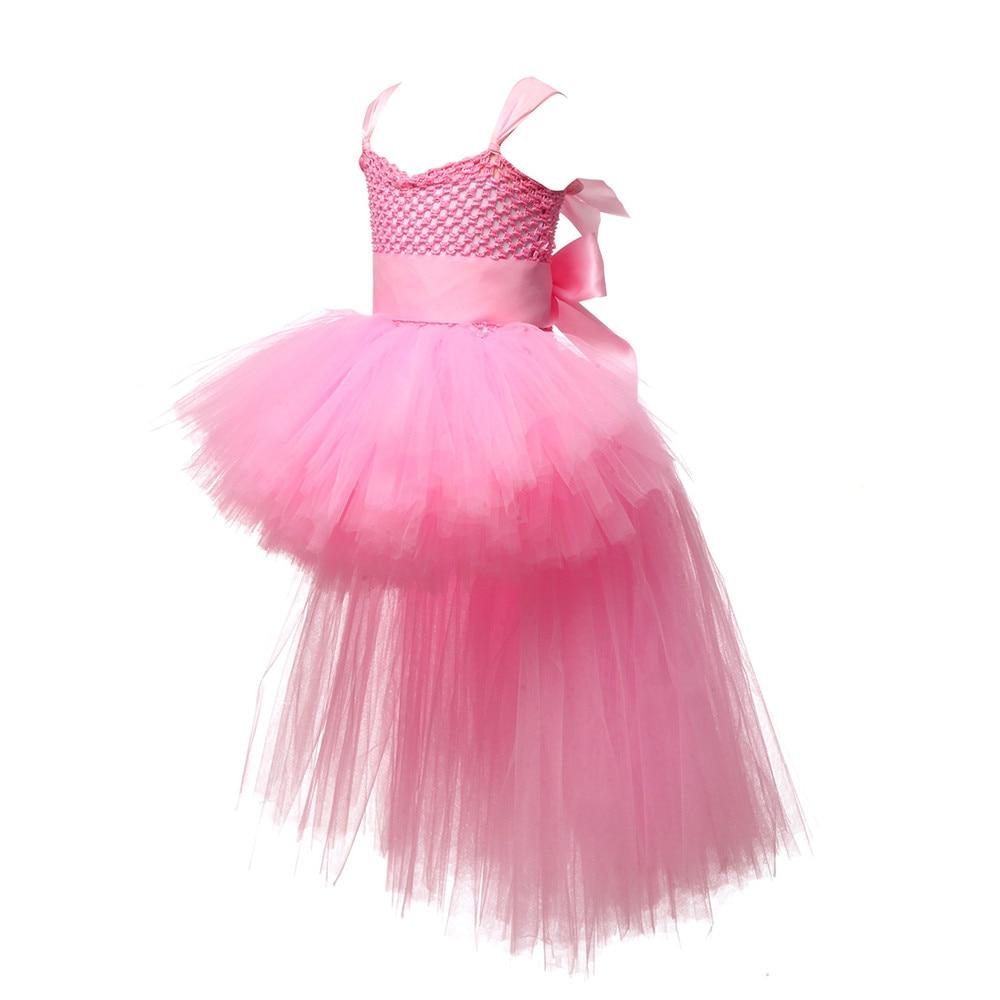 Image 3 - V neck Train Girls Tutu Dress Tulle Flower Girl Dresses Pink Girls Wedding Pageant Ball Gown Children Girl Birthday Party Dressgirls birthday party dressgirls tutu dressgirls dress -