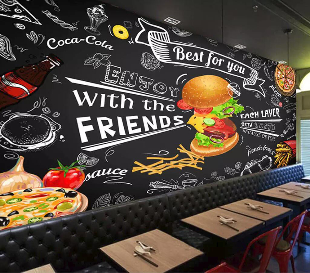 Commercial Wallpaper Hand-painted Style Hamburger Fast-food Restaurant Snack Bar Background Wall