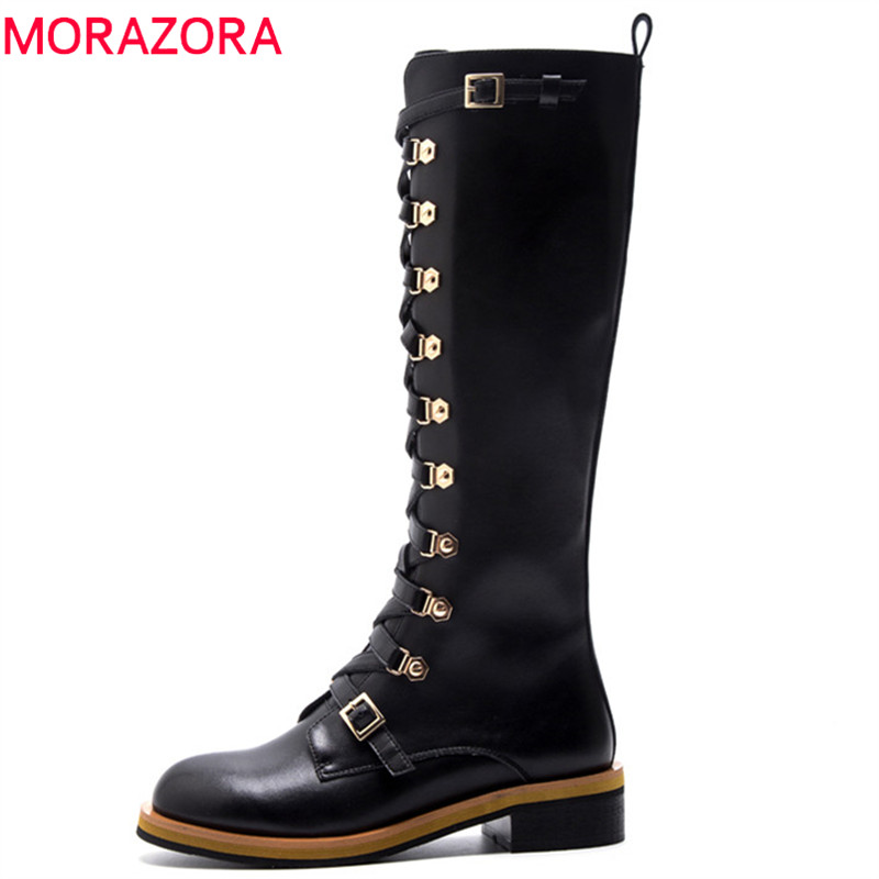 MORAZORA 2018 new arrival knee high boots women genuine leather autumn boots zipper cross tied punk fashion shoes woman black morazora 2018 new arrival genuine leather ankle boots for women lace up zipper autumn boots fashion punk shoes woman black
