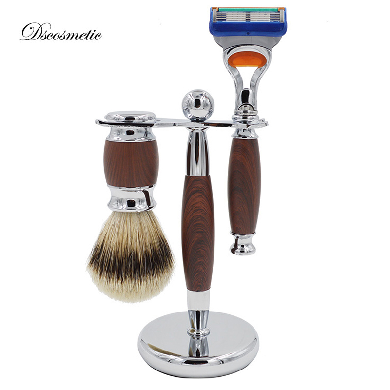 high quality shaving sets/kit with silvertip badger hair brush and shave stand triple blade razor for shaving gift set mens badger shaving brush stand razor holder and double head safety straight razor
