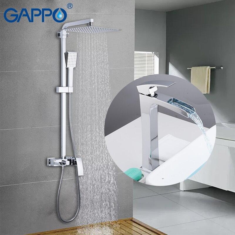 GAPPO Vasca Da Bagno Rubinetti doccia lavabo rubinetto in ottone cromato a parete set doccia deck mounted bacino lavandino rubinetto per il bagno