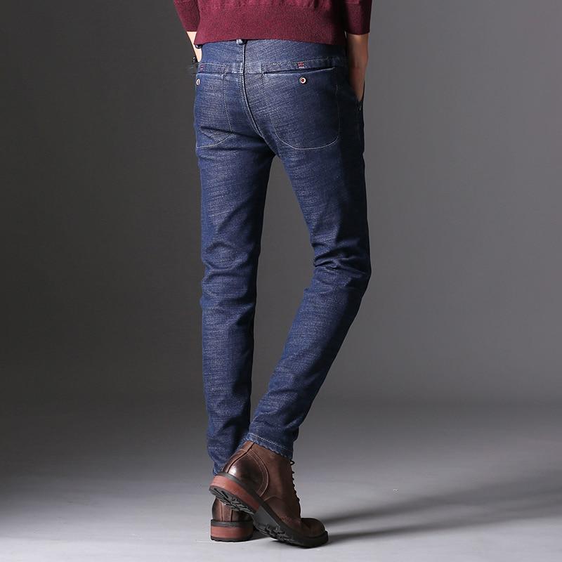 KSTUN Men's Jeans Winter Thick Warmer Fleece Heat Insulated Elastic Waist Slim Fitness Casual Denim Pants Students Boys Trousers 12